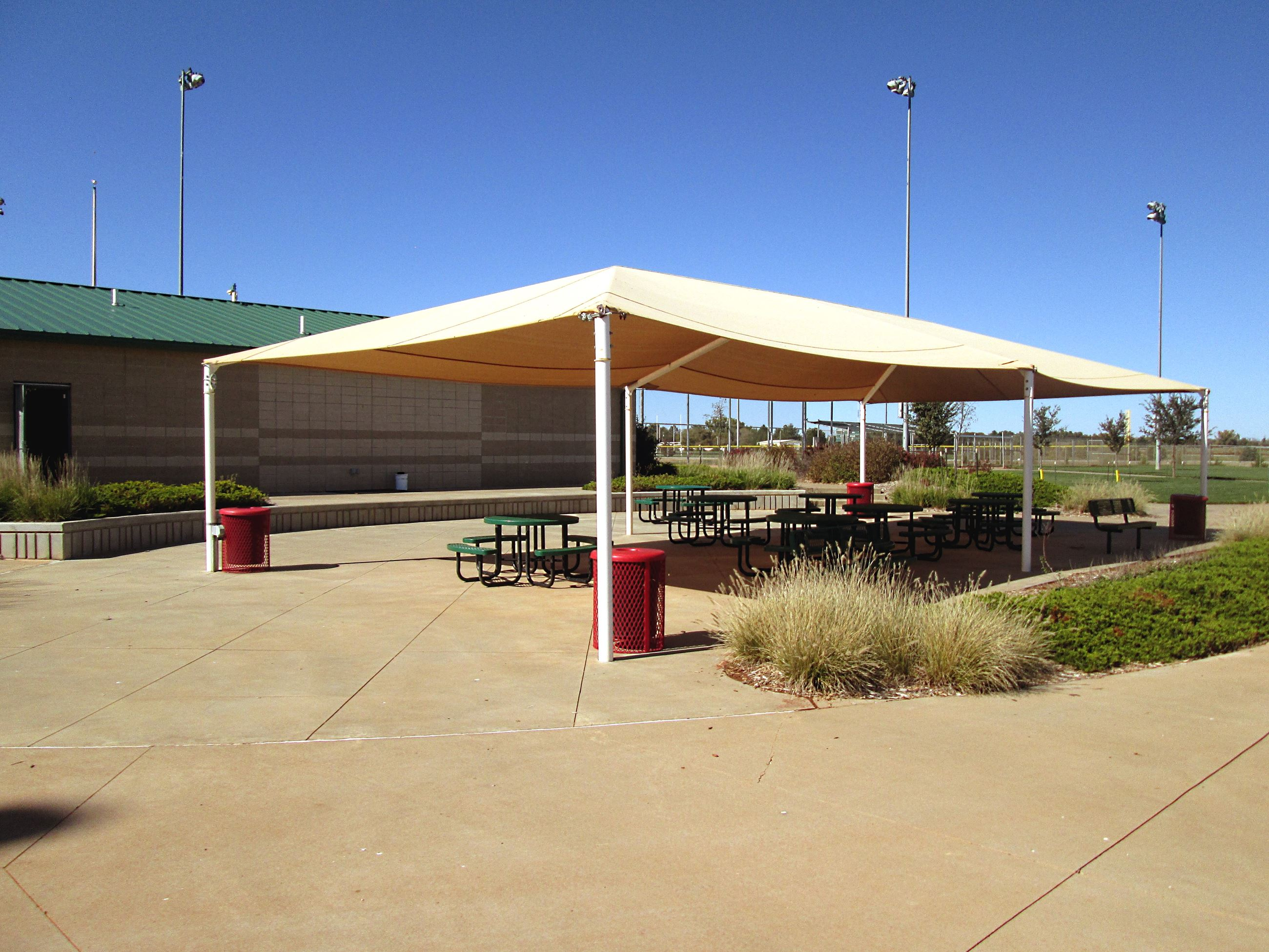 Awning Over Picnic Tables at Sports Complex
