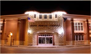 Hays Public Library Lit up at Night