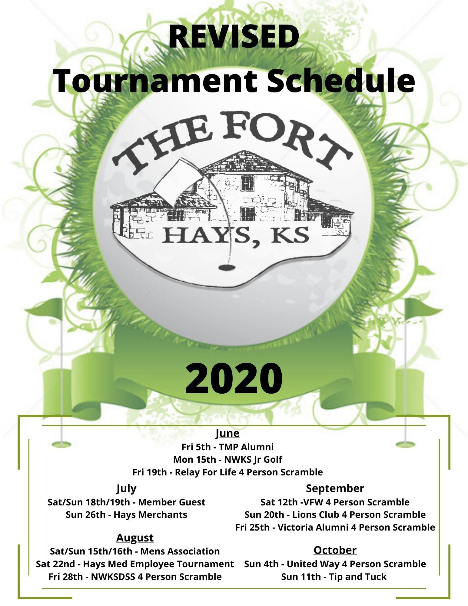 2020 Tournament Schedule